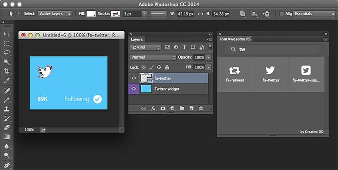 Font Awesome-Icons ganz einfach in Photoshop einsetzen.
