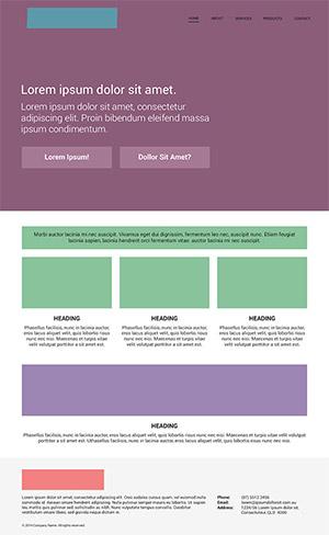 Eine typische mit Velositey erstellte Webseite.