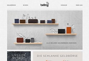 Schöne Optik, einfache Navigation, bellroy.com.
