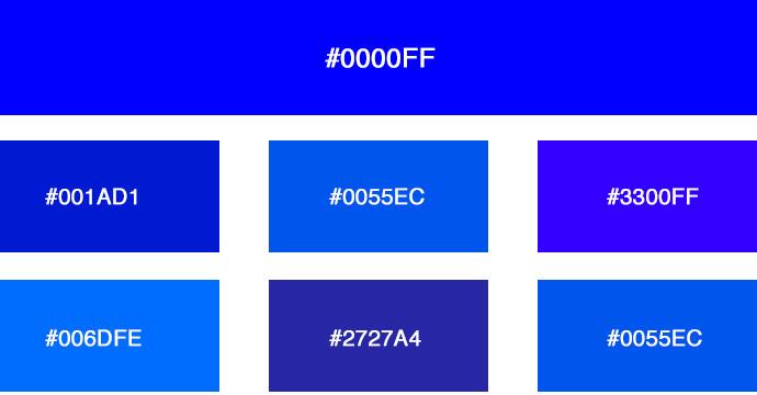 verschiedene blautne - Farbpalette Blau