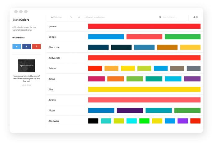 brandcolors.net listet die Farbcodes der großen internationalen Unternehmen auf.