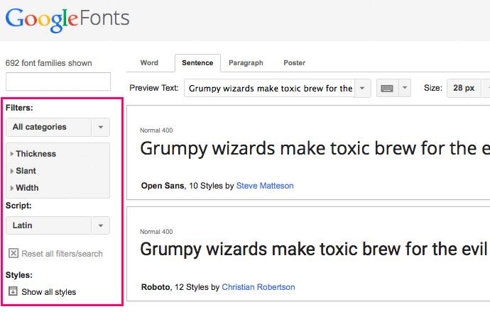 Google Fonts FIlter