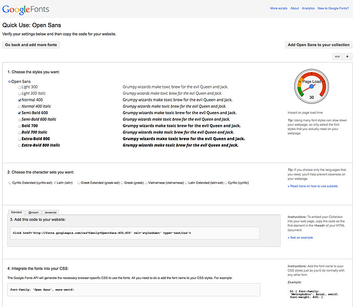 "Google Fonts ""Quick Use"""