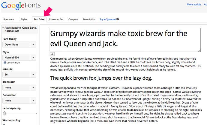 Google Fonts Test Drive