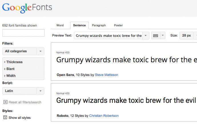 Google Fonts Übersicht