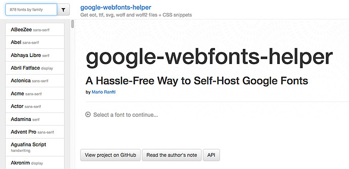 Der Google Webfonts Helper