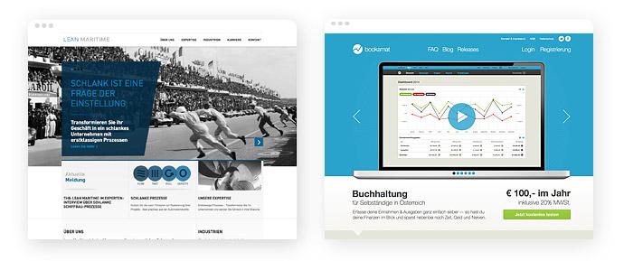 Beispiele für den Einsatz der Farbe Blau im Screendesign