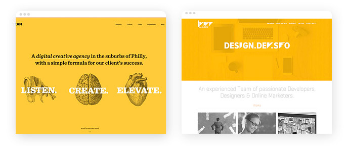 Beispiele für den Einsatz der Farbe Gelb im Screendesign