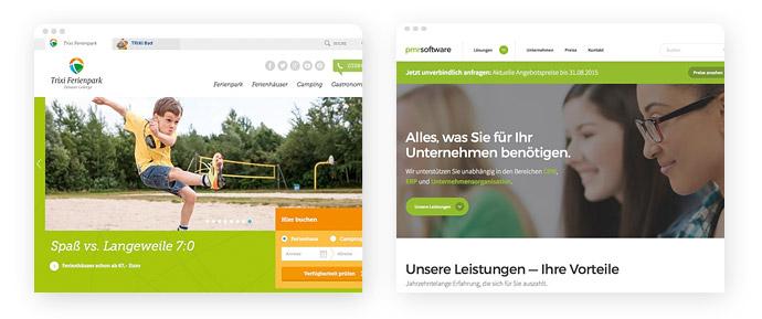 Beispiele für den Einsatz der Farbe Grün im Screendesign