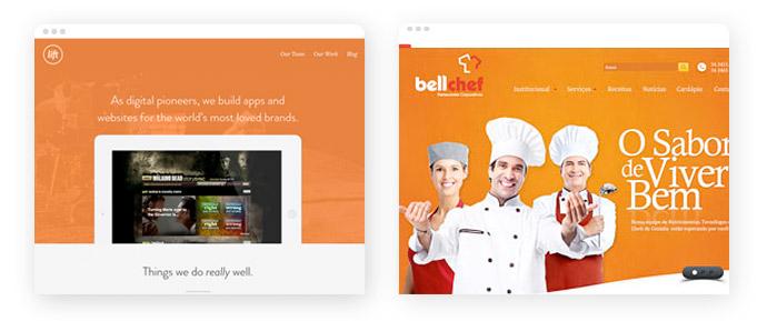 Beispiele für den Einsatz der Farbe Orange im Screendesign
