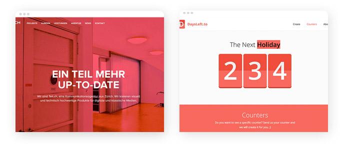 Beispiele für den Einsatz der Farbe Rot im Screendesign