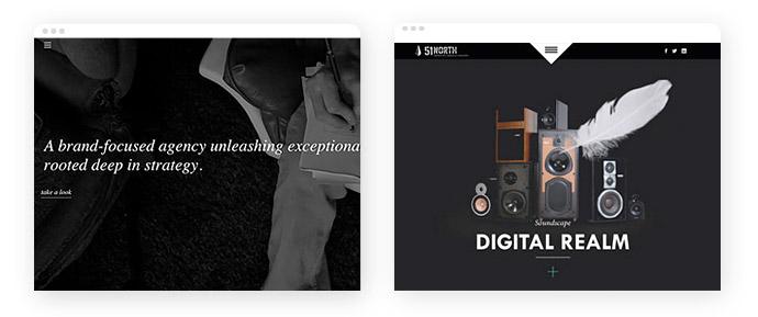 Beispiele für den Einsatz der Farbe Schwarz im Screendesign