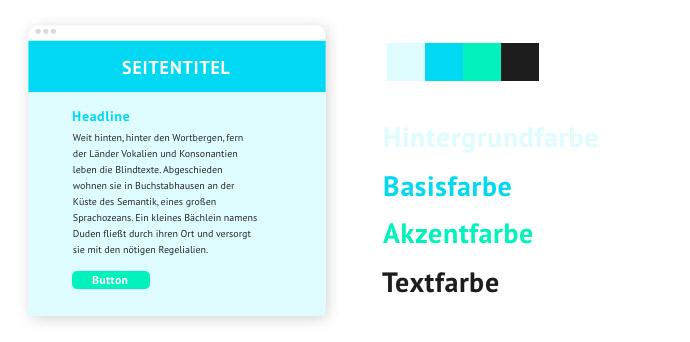 Beispiel für eine Farbpalette mit einem analogen Farbschema