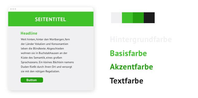 Beispiel für eine Farbpalette mit einem Bunt-Unbunt-Kontrast