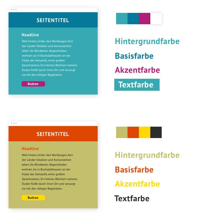 Beispiele für den Farbe-an-sich-Kontrast