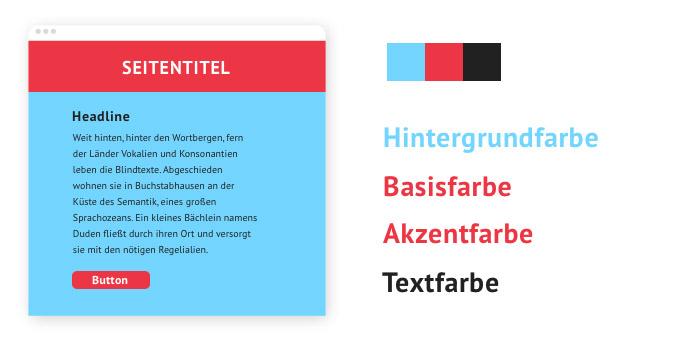 Beispiel für eine Farbpalette mit einem Kalt-Warm-Kontrast