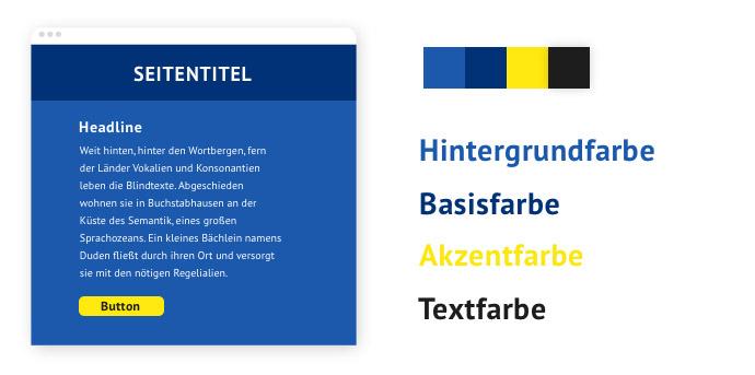 Beispiel für eine Farbpalette mit einem Komplementärkontrast-Kontrast