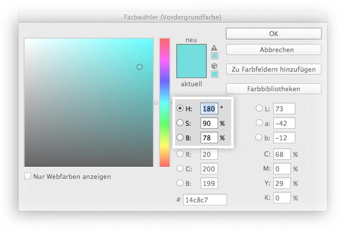 Die HSB-Werte in Adobe Photoshop.