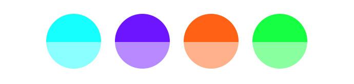Verschiedene Farbtöne mit Helligkeitsabstufungen