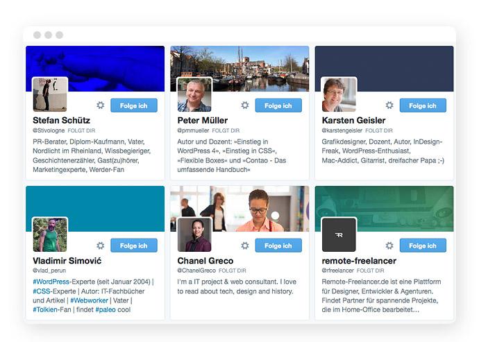 Die Beschreibung eines twitter-Profils – auch eine Art Elevator Pitch.