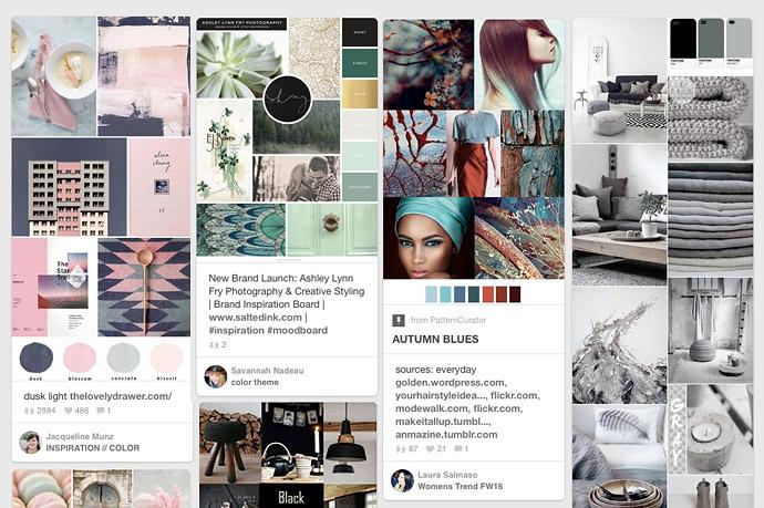 """Bei <a href=""""https://de.pinterest.com/"""" target=""""_blank"""">Pinterest</a> findet man beispielsweise einige Anregungen für Moodboards aus allen möglichen Richtungen und Umsetzungsvarianten."""