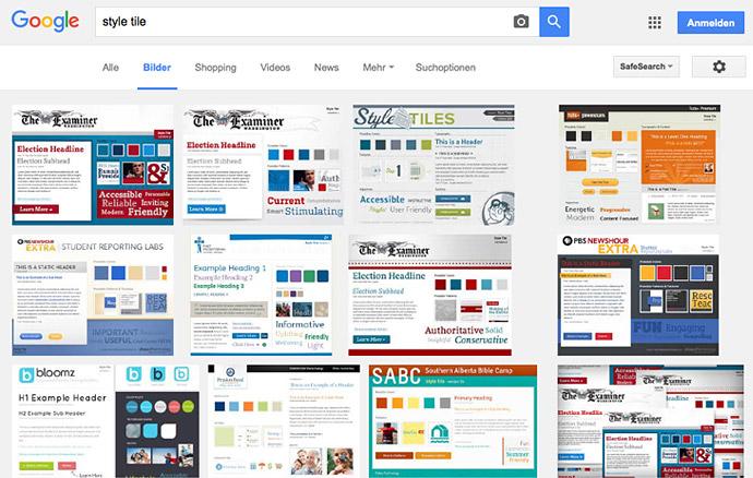 Schon die Google-Bildersuche liefert einige spannende Style Tiles als Anregung.