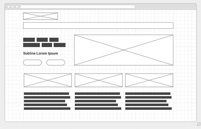"""So kann ein einfaches digitales Wireframe aussehen. In wenigen Minuten mit dem Online-Tool <a href=""""http://wireframe.cc"""" target=""""_blank"""">wireframe.cc</a> erstellt."""