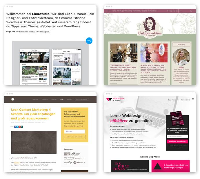 Vier Beispiele für eine gelungene Blog-Positionierung, die sich auch optisch widerspiegeln.
