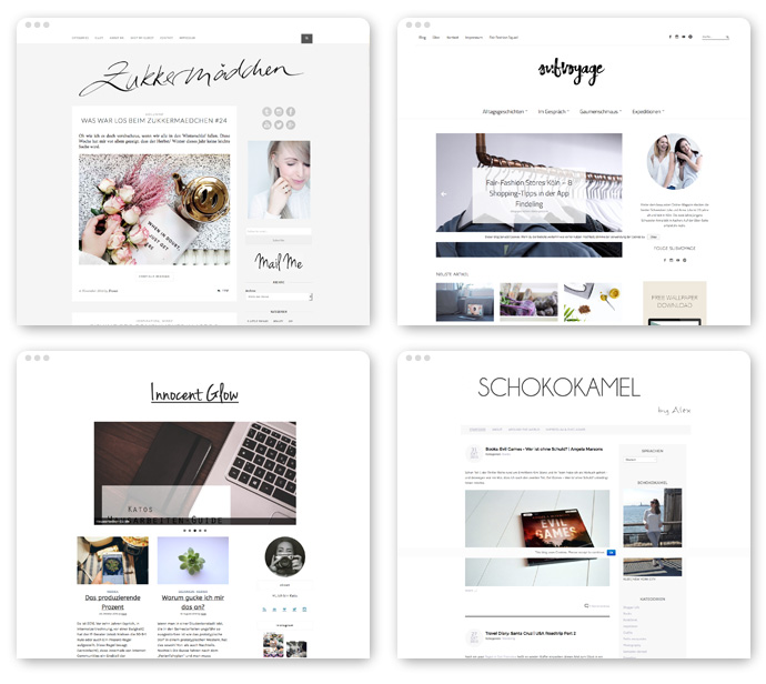 Vier Blogdesigns: Minimalistisch modern, zeitgemäß, aber irgendwie auch sehr austauschbar.