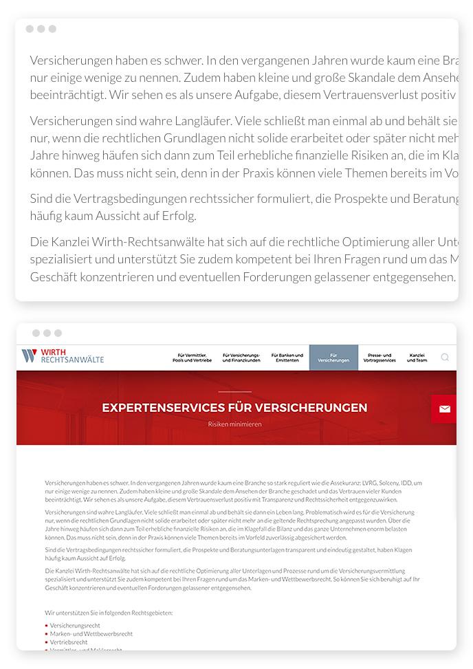 Schlechte Webdesign Typografie