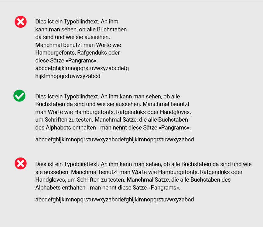 Unterschiedliche Zeilenlängen im Webdesign