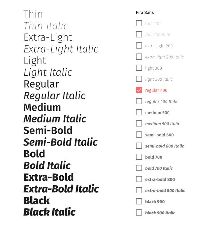 Webdesign Webfont Schriftschnitt