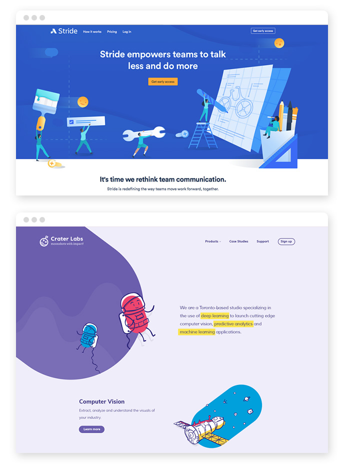 Individuelle Illustrationen – Webdesign Trends