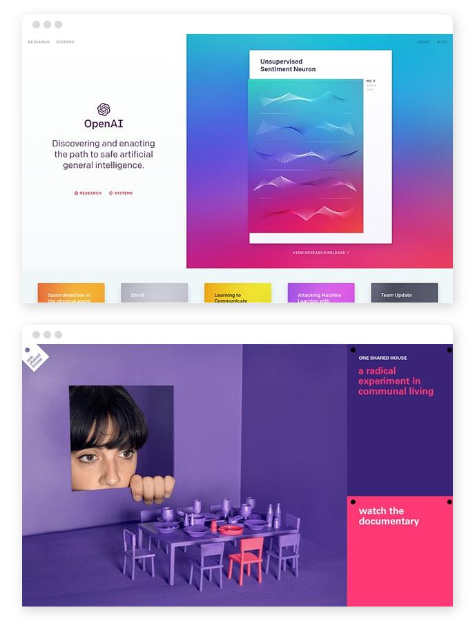 Kräftige Farben – Webdesign Trends