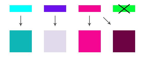Varianten mit verschiedenen Helligkeiten und Sättigungen.