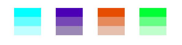 Verschiedene Farbtöne mit Helligkeitsabstufungen.