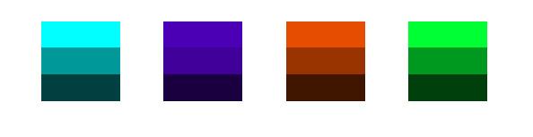 Verschiedene Farbtöne und mit unterschiedlichen Sättigungen.