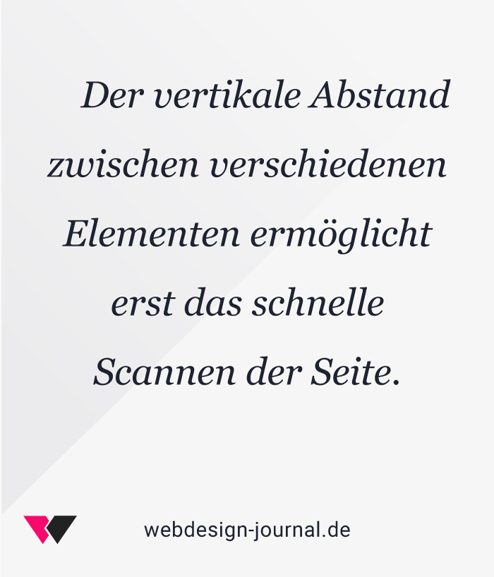 Typografie ermöglicht das schnelle Scannen der Webseite.