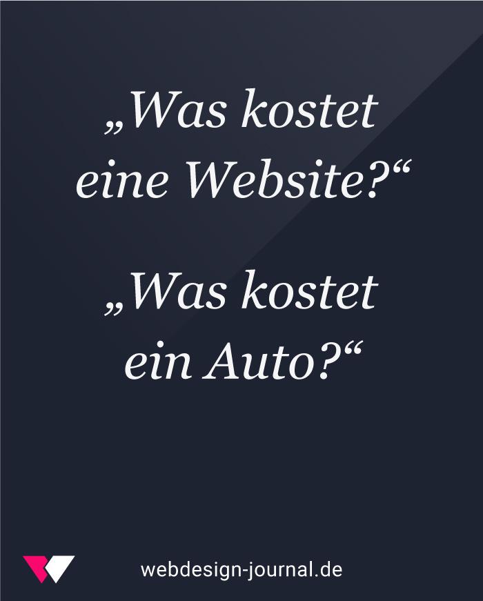 Webdesign-Kosten und die Kosten eines Autos.