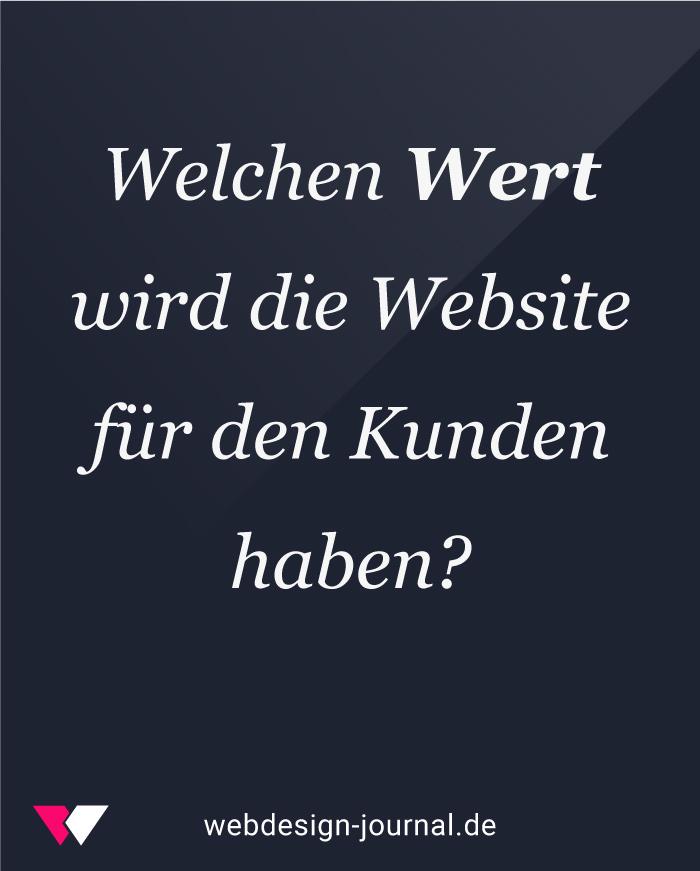 Der Wert der Webseite und die Kosten.