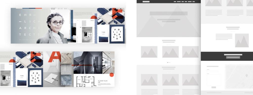 Eine tolle Kombination: Stylescapes geben die Designrichtung vor und Wireframes (rechts) die Inhaltsstruktur.
