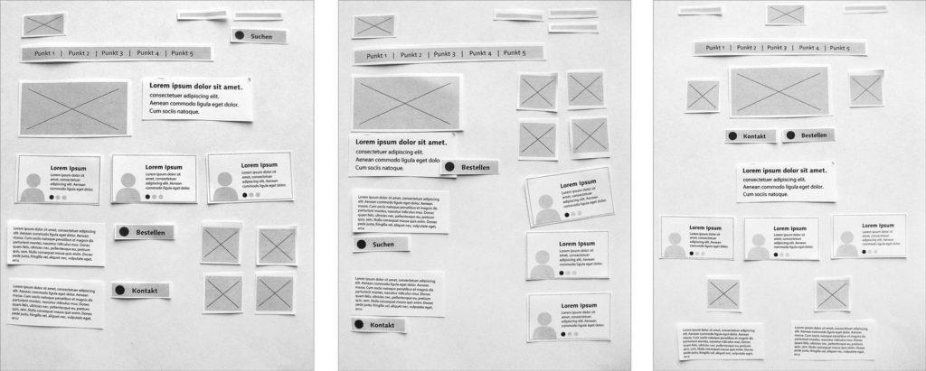 Wireframes mit Papierschnipseln