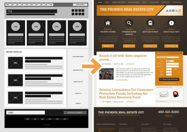 Wireframe und fertige Website.