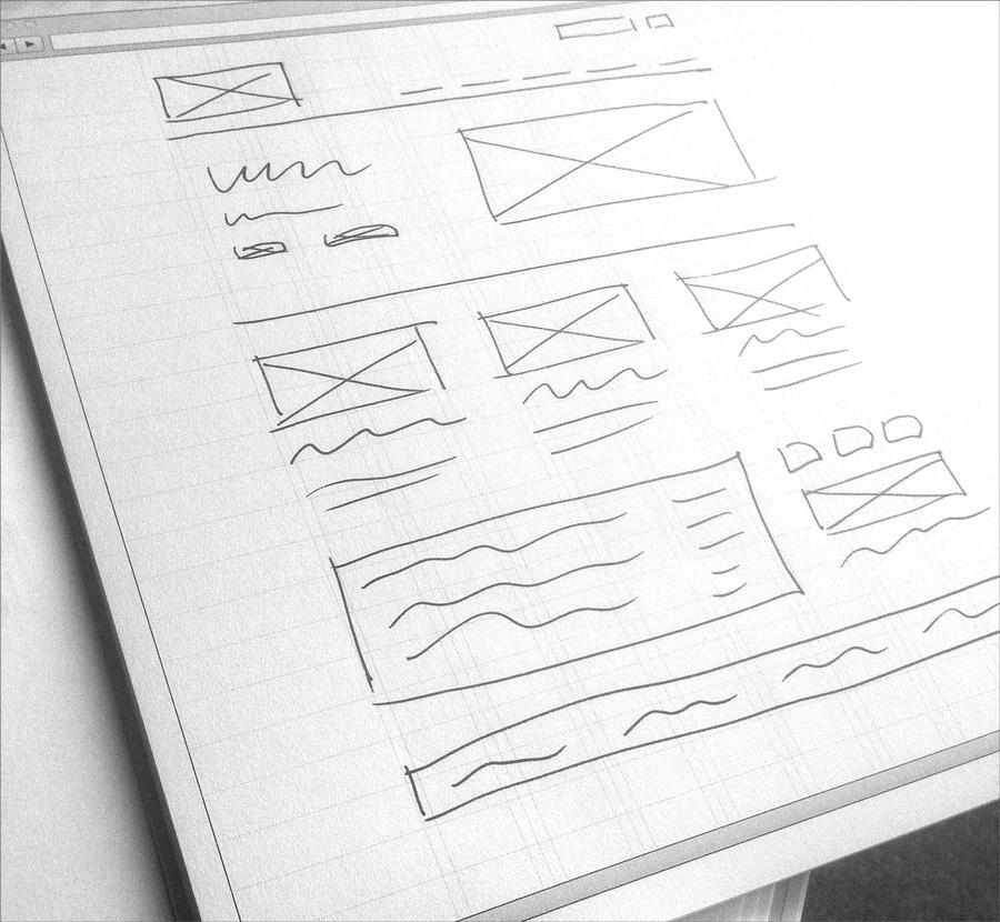 Ein einfaches handgezeichnetes Wireframe.