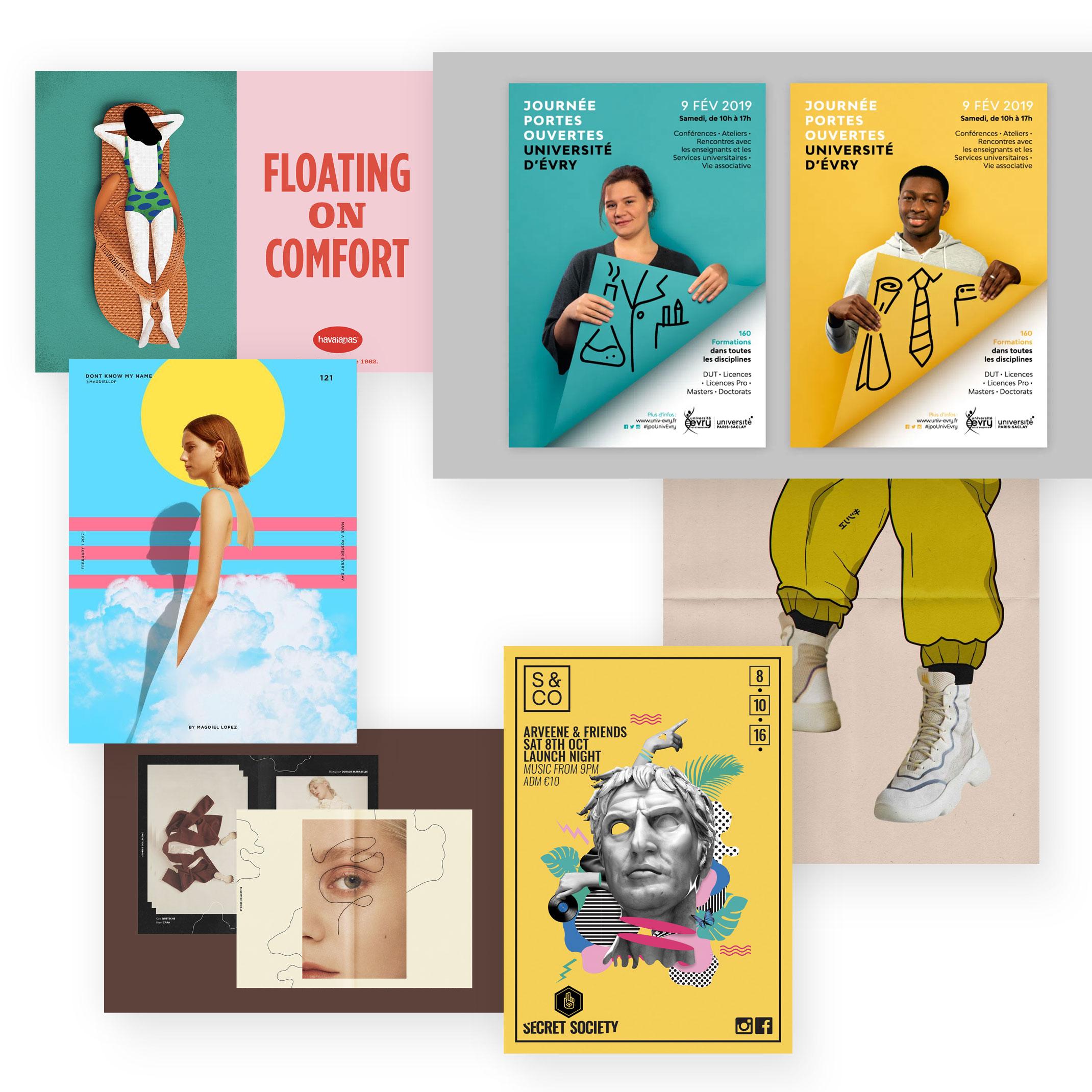 Collage von Bildern und Illustrationen