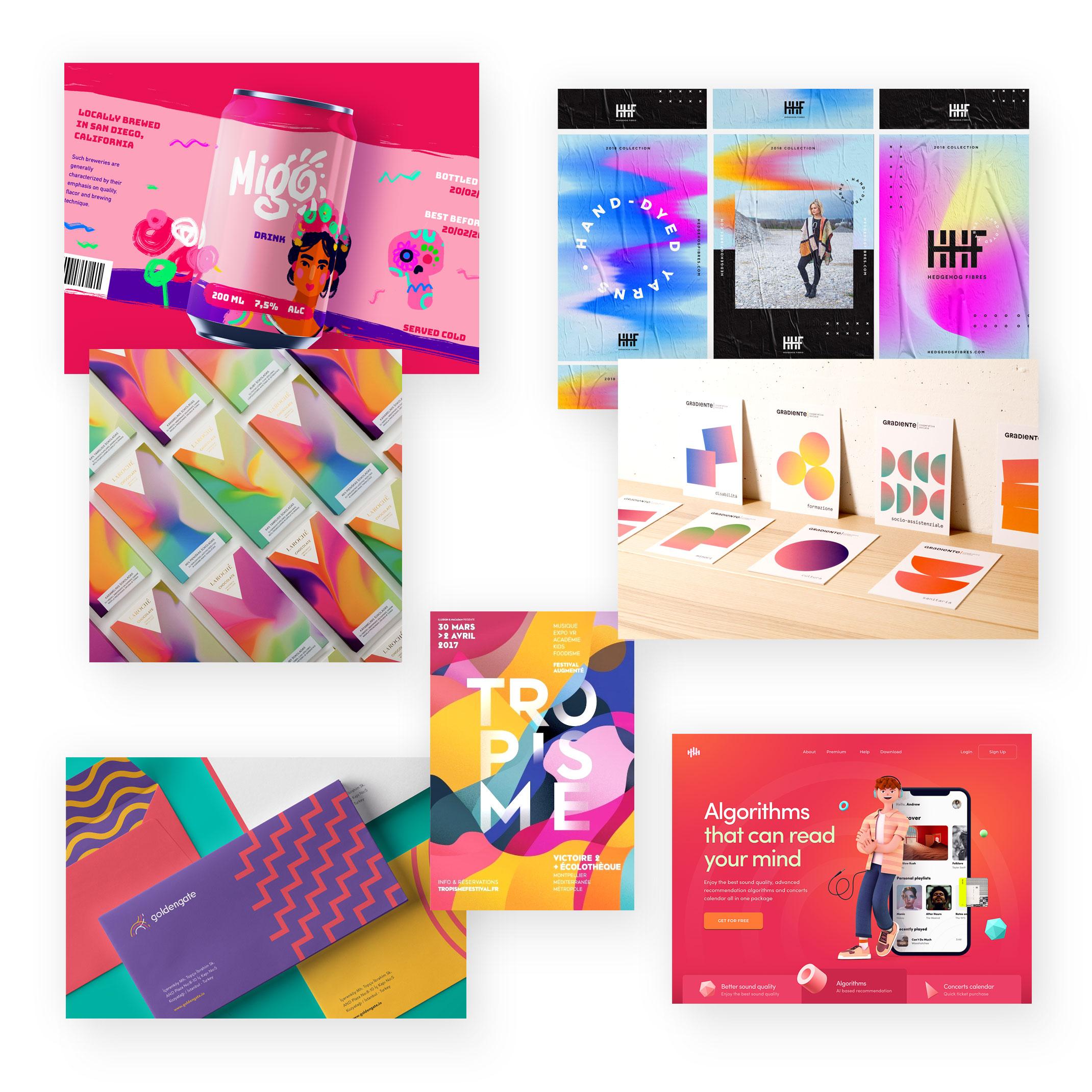 Leuchtende Farben und komplexe Farbverläufe
