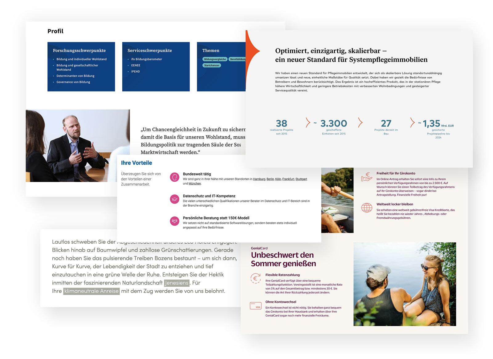 Tolel Layouts, gute Übersicht und Lesbarkeit – so geht moderndes Webdesign.