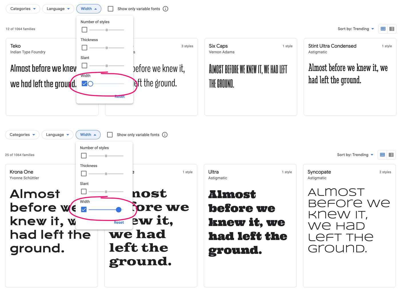 Filter der Buchstabenweite bei den Google Fonts