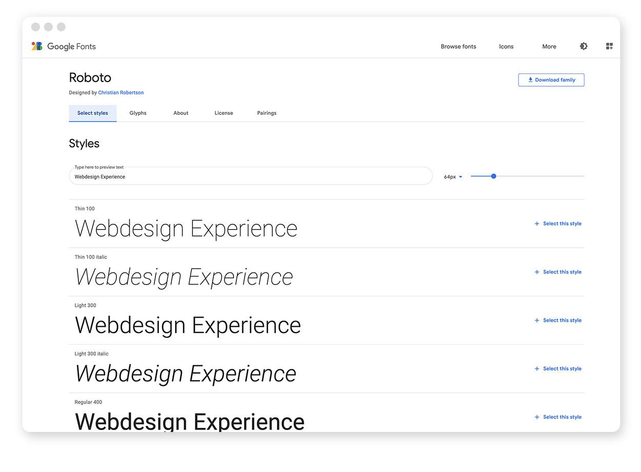 Details zu einer Schriftart bei den Google Fonts