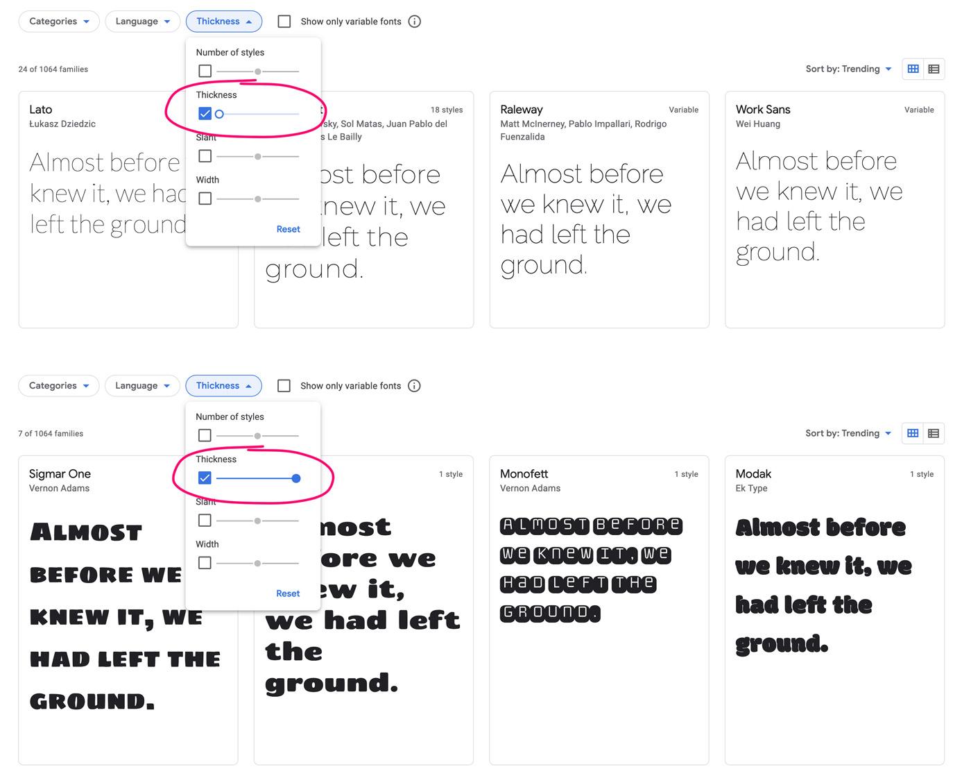 Filter der Strichstärke bei den Google Fonts